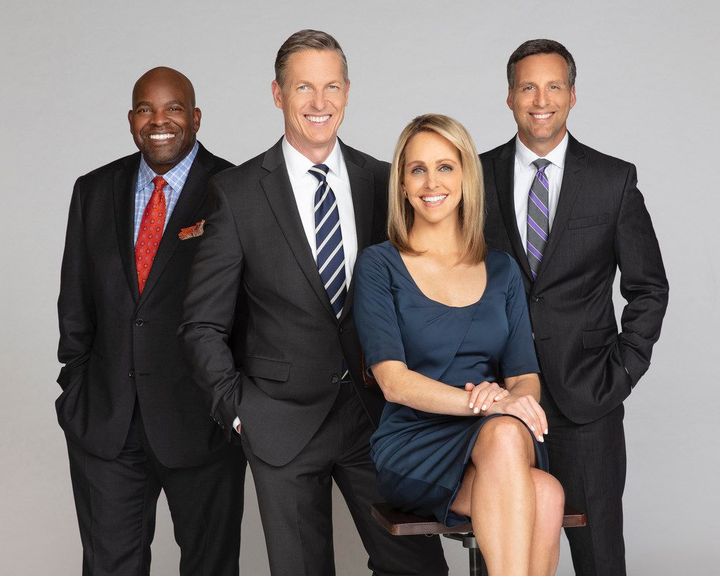 KXAS-TV (NBC5)'s 10 p.m. news anchor team (from left): sports director Newy Scruggs, anchor Brian Curtis, anchor Meredith Land and chief meteorologist Rick Mitchell.