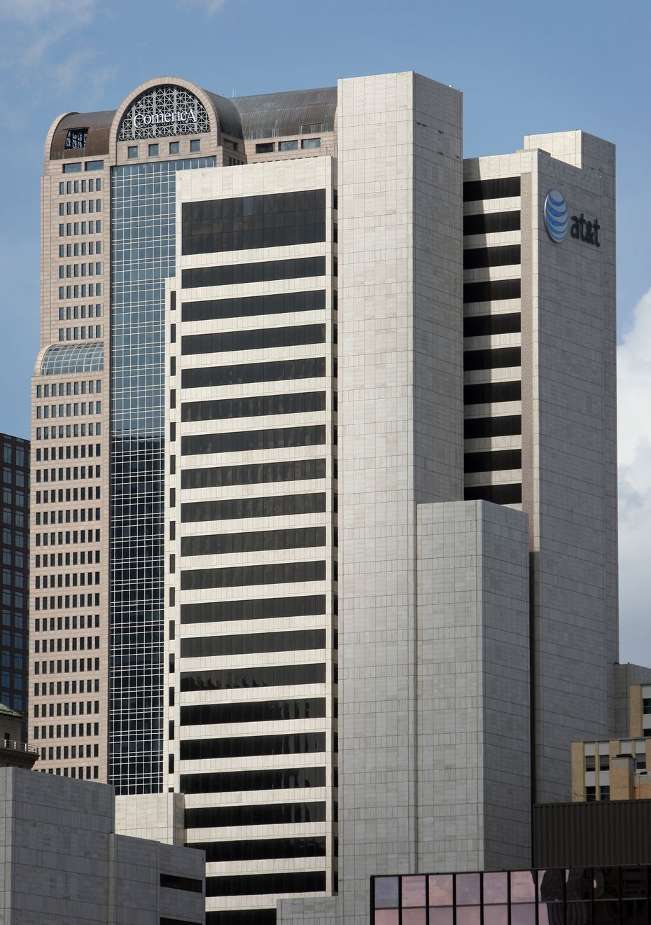 AT&T now occupies a handful of buildings on South Akard Street in downtown Dallas.