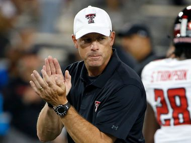 Texas Tech head coach Matt Wells prior to an NCAA college football game against Arizona, Saturday, Sept. 14, 2019, in Tucson, Ariz. (AP Photo/Ralph Freso) ORG XMIT: NYOTK