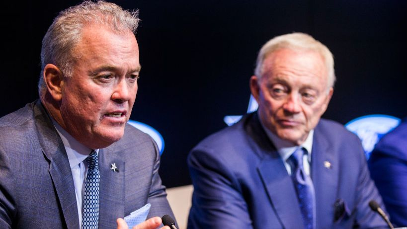 Dallas Cowboys Executive Vice President and CEO Stephen Jones, owner Jerry Jones answer questions from reporters after choosing defensive end Taco Charlton in round one of the 2017 NFL Draft on Thursday, April 27, 2017 at The Star in Frisco, Texas.