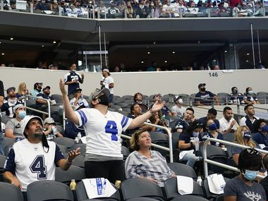Dallas Cowboys fan reacts after a call went against their team during the second quarter of an NFL football game Atlanta Falcons at AT&T Stadium on Sunday, Sept. 20, 2020, in Arlington.