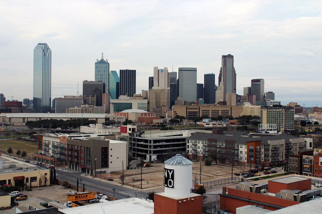 Looking north from The Cedars neighborhood across Interstate 30 toward downtown Dallas.