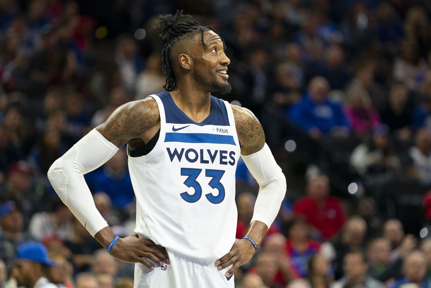 PHILADELPHIA, PA - OCTOBER 30: Robert Covington #33 of the Minnesota Timberwolves reacts against the Philadelphia 76ers at the Wells Fargo Center on October 30, 2019 in Philadelphia, Pennsylvania. NOTE TO USER: User expressly acknowledges and agrees that, by downloading and or using this photograph, User is consenting to the terms and conditions of the Getty Images License Agreement.