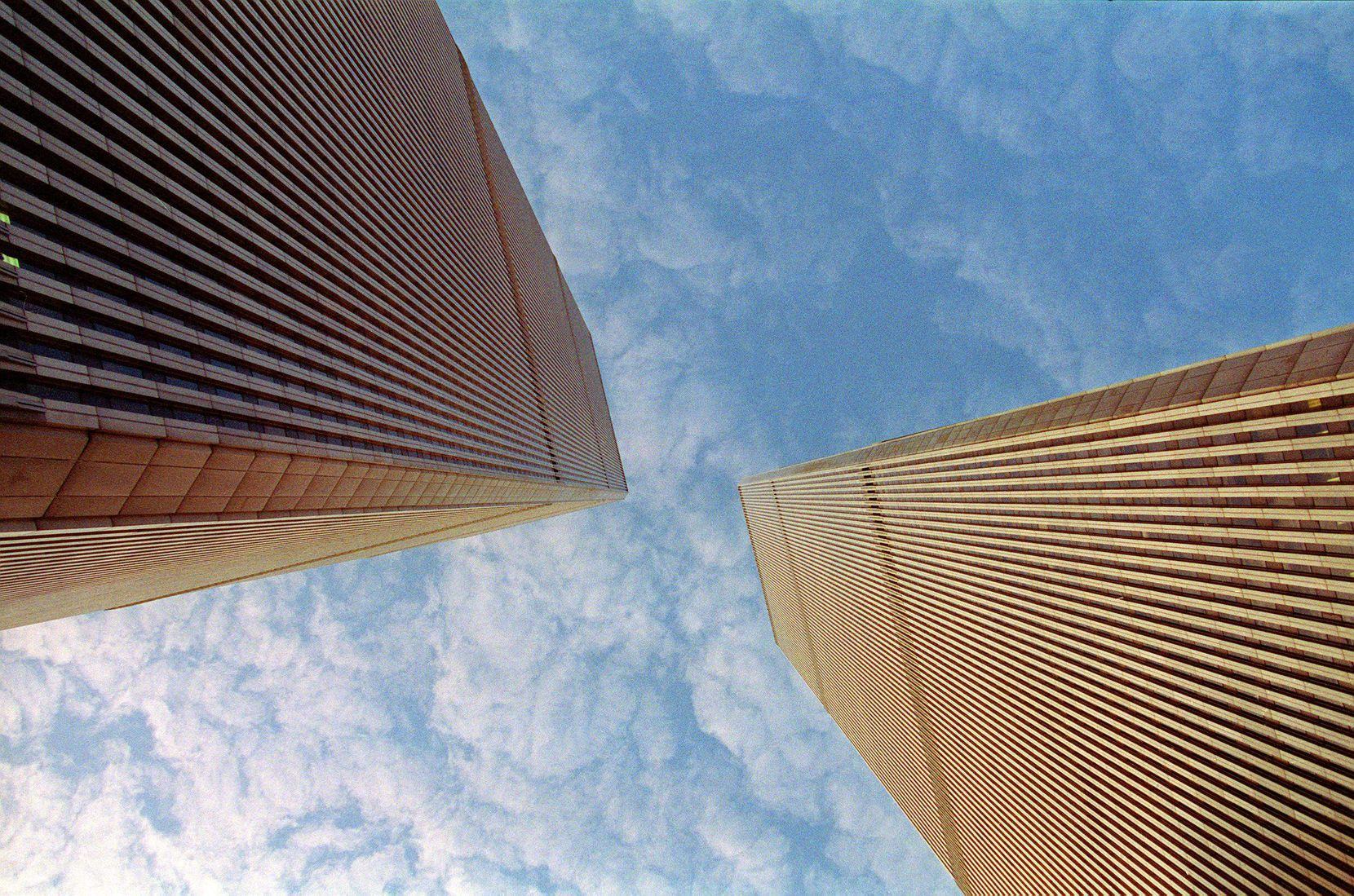 This file photo taken Nov. 8, 1992 shows the twin towers of the World Trade Center, in lower Manhattan, New York.
