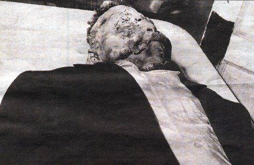 This handout photo received 05 May 2005 shows the body of 14-year-old Emmett Till, a black youth killed in 1955 in Mississippi reportedly after he whistled at a white woman. His body will be exhumed in coming weeks for an autopsy, court sources said 05 May 2005.