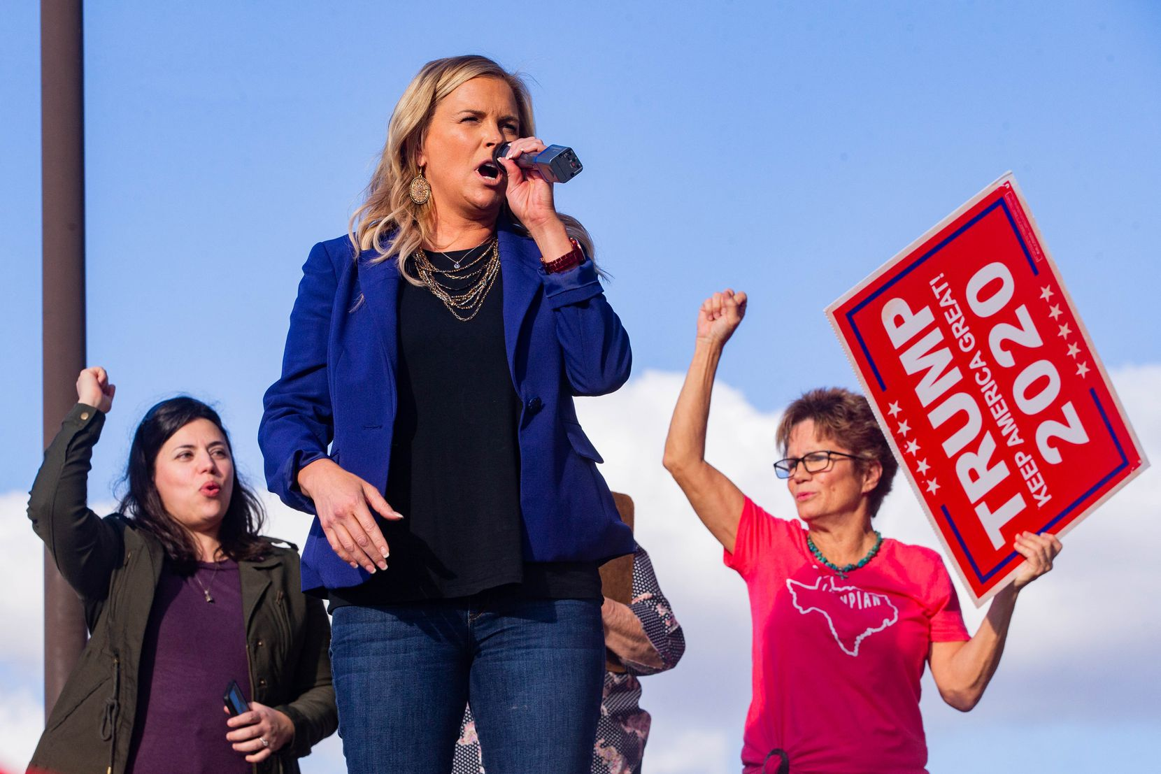 Shelley Luther speaks during an America is Great rally hosted by TrumpTrain 2020 DFW at Rockwall County Courthouse in Rockwall on Sunday, Nov. 8, 2020.