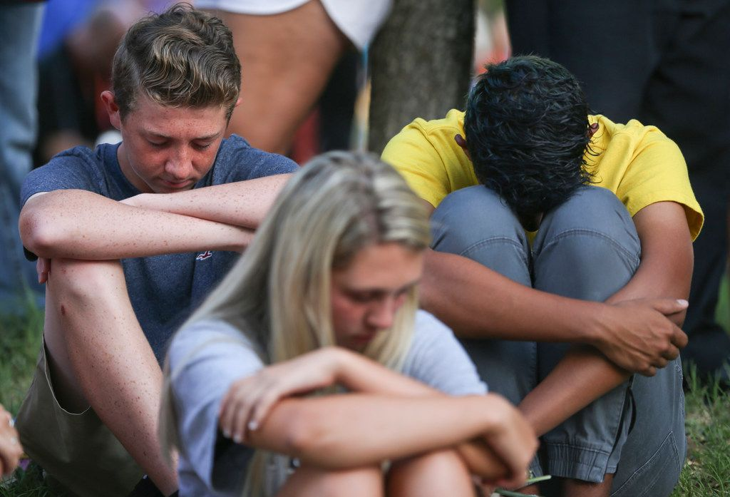 Community members gather for a prayer vigil at the University of Texas Permian Basin on Sunday, Sept. 1, 2019. At least seven people died after more than 20 people were shot Saturday when a gunman hijacked a postal truck and began shooting randomly in the Odessa area of West Texas, authorities say.(Ryan Michalesko/The Dallas Morning News)