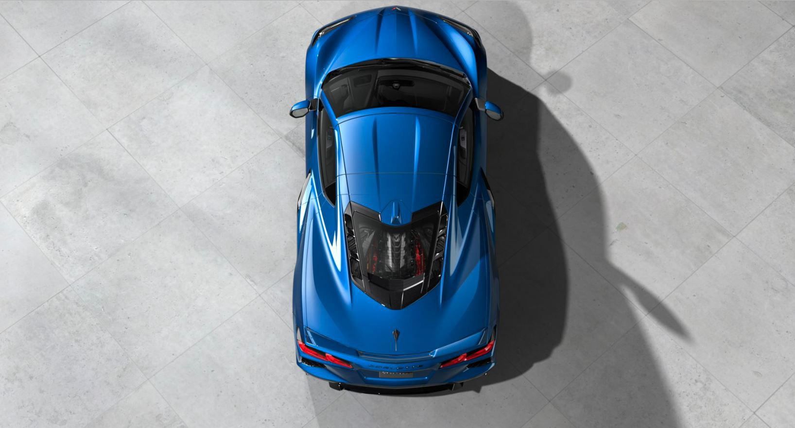 Overhead view of the 2020 Chevrolet Corvette C8 Stingray showing the midengine placement.