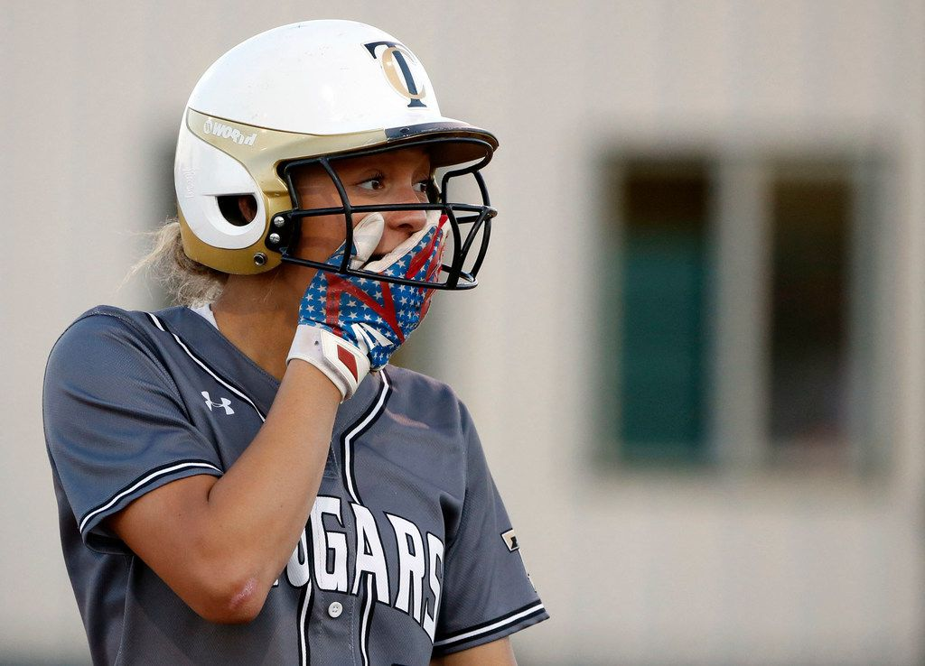 The Colony's Jayda Coleman (10) to a teammate being called out on strikes by Birdville during game 2 of the Class 5A  Bi-District girls softball playoffs on April 26, 2019. (Michael Ainsworth/Special Contributor)