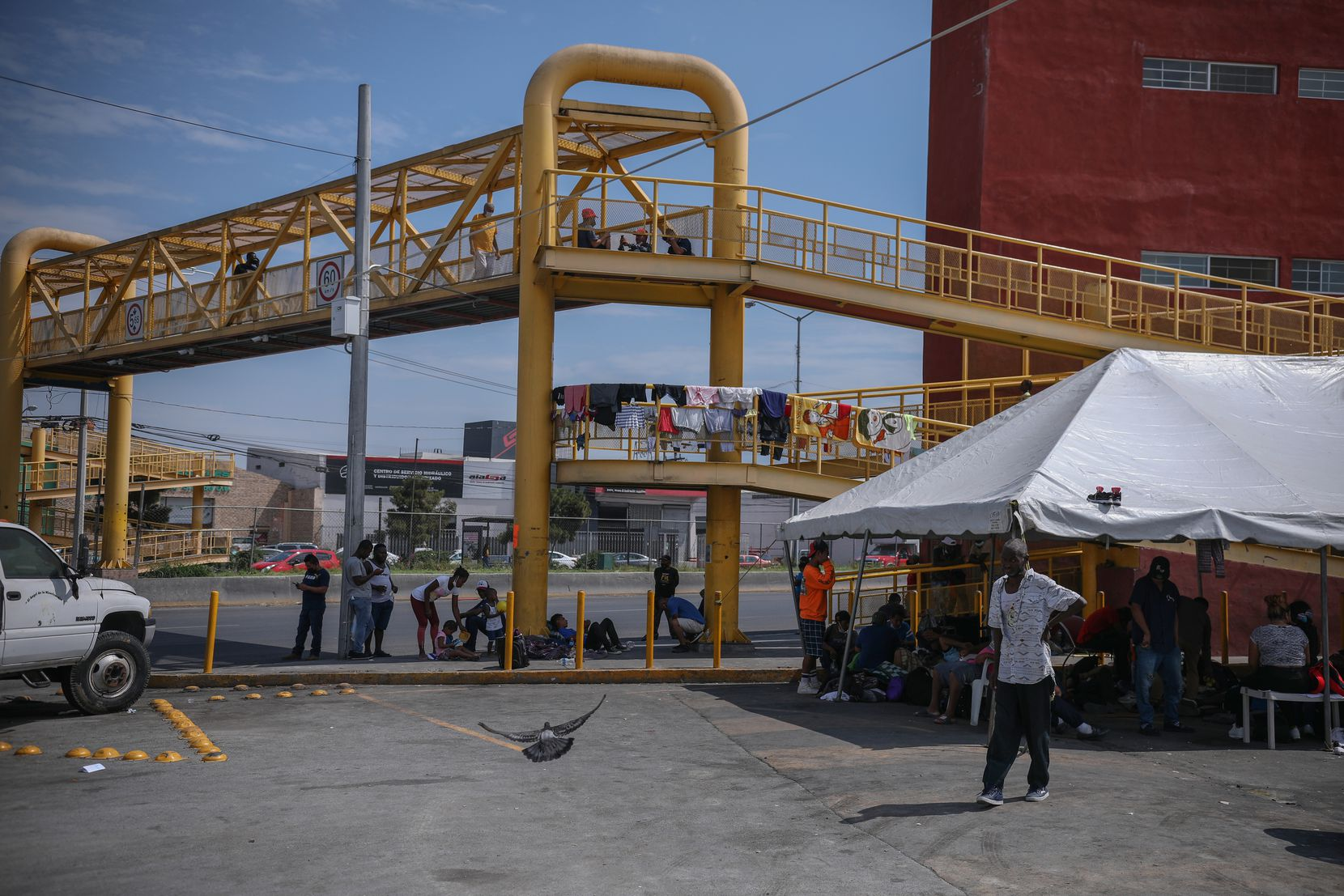 View of a bridge where a makeshift camp for Haitian and Central American migrants is located in Monterrey, Mexico on Tuesday, September 28, 2021.