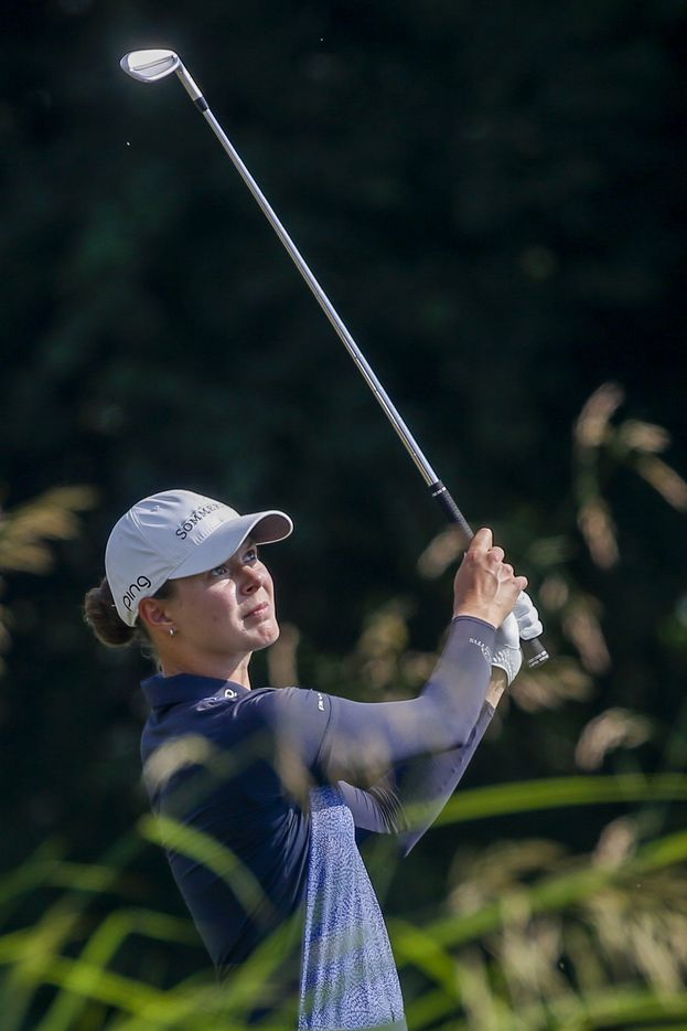 Professional golfer Esther Henseleit eyes her shot along the No. 12 fairway during the final round of the LPGA VOA Classic on Sunday, July 4, 2021, in The Colony, Texas. (Elias Valverde II/The Dallas Morning News)