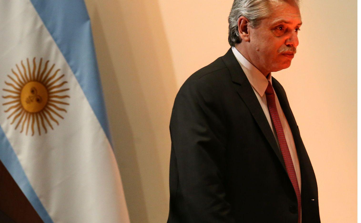 El presidente argentino Alberto Fernández durante una visita oficial a México en noviembre de 2019.