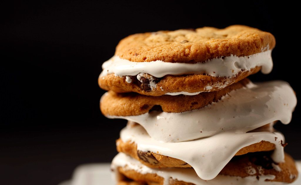 Chocolate chip cookie marshmallow sandwiches