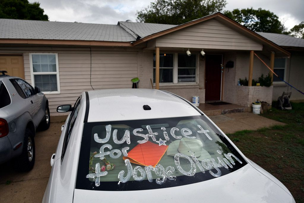The family's cars have been painted demanding justice for Jorge Olguin's death.