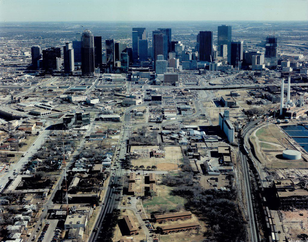 The Dallas skyline in 1984 when Harwood International completed its Rolex Building, the first office building in what was considered Little Mexico, which is now part of the Uptown area.