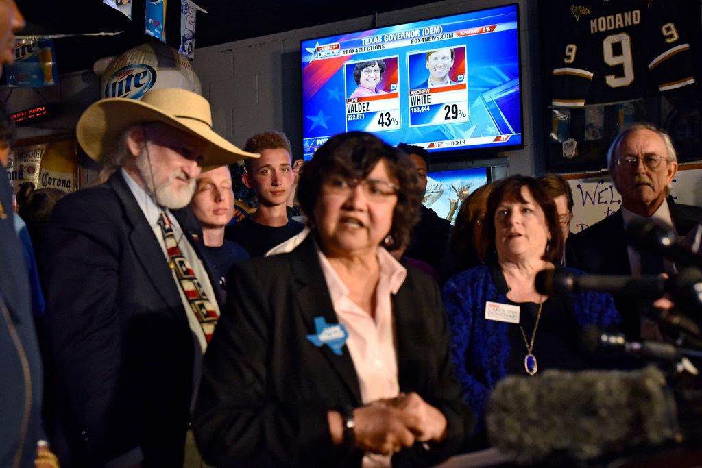 Lupe Valdez spoke as March 6 primary election results were displayed during a watch party for the Dallas County Democrats at Dallasite bar and billiards. (Ben Torres/Special Contributor)