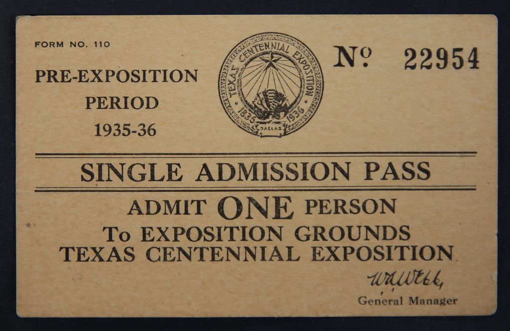 An admission ticket to the Texas Centennial Exposition in 1936.
