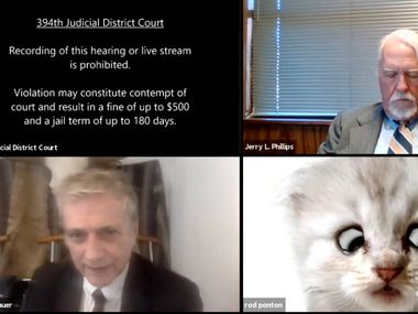 """The best-known Texas virtual court hearing happened in February when a lawyer appeared as a cat due to what was called """"a filter mishap."""" But that was only one of 1.5 million virtual hearings in Texas that have revolutionized the Texas judiciary."""