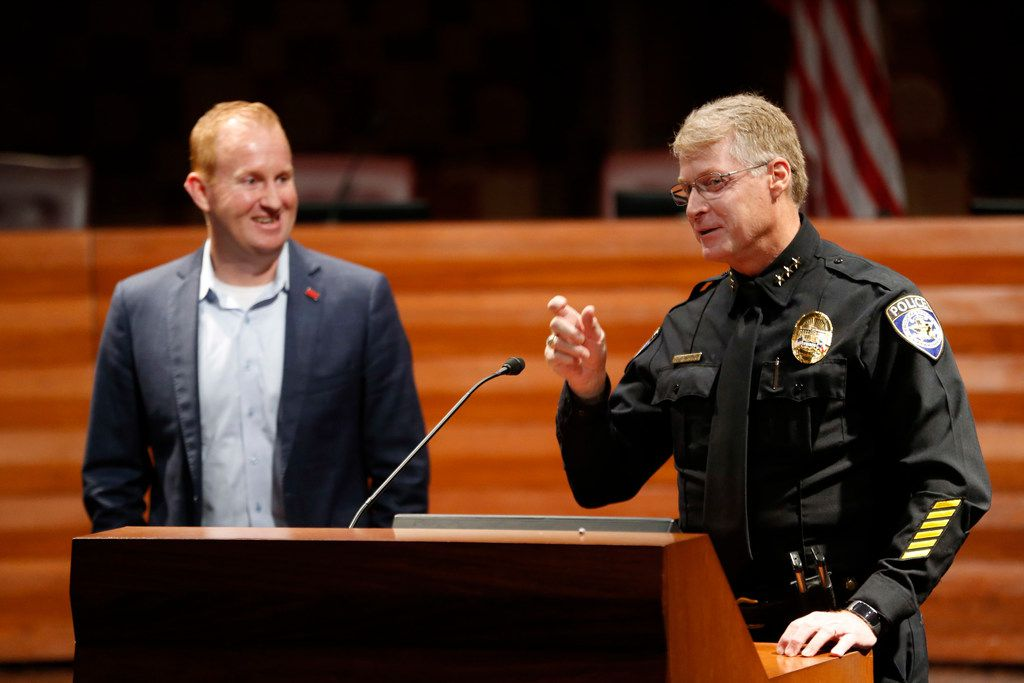 Frisco Mayor Jeff Cheney (left) and Police Chief John Bruce talked about safety improvements in the school district at Frisco City Hall in April 2018.