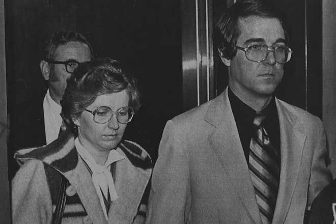 Candace Montgomery and her husband, Pat, leave an elevator in the Collin County Courthouse in McKinney after her 1980 trial for the murder of Betty Gore earlier that year was turned over to the jury. After three hours of deliberations, the jury acquitted Montgomery, who claimed the killing was in self-defense.