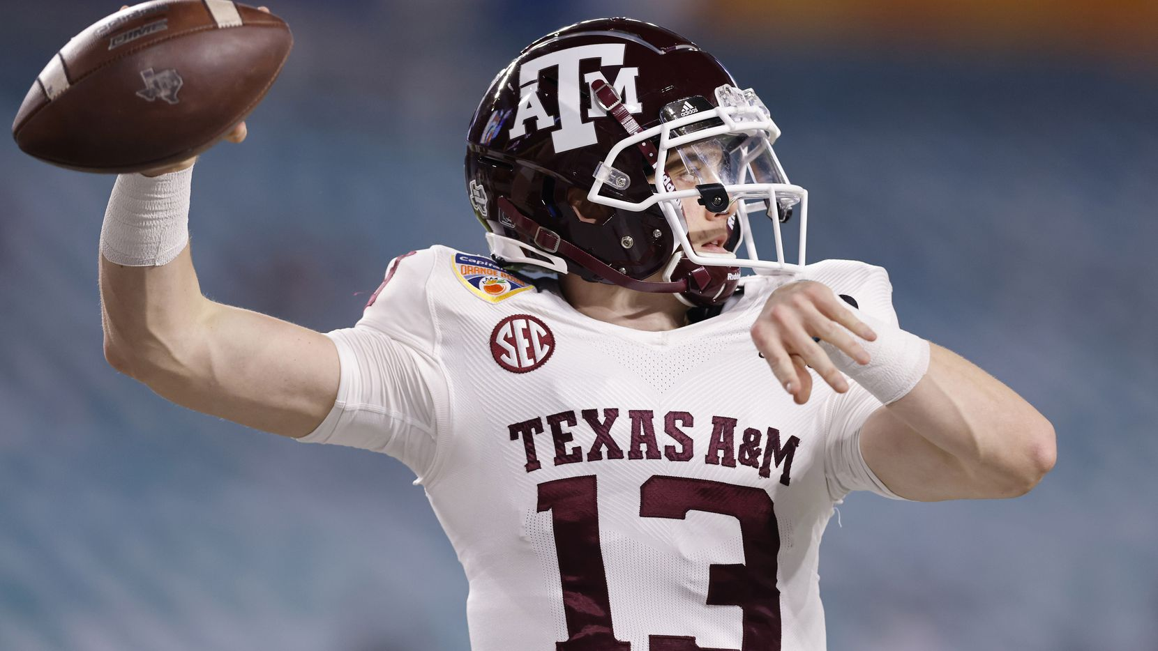 Haynes King #13 of the Texas A&M Aggies warms up prior to the Capital One Orange Bowl against the North Carolina Tar Heels at Hard Rock Stadium on January 02, 2021 in Miami Gardens, Florida.