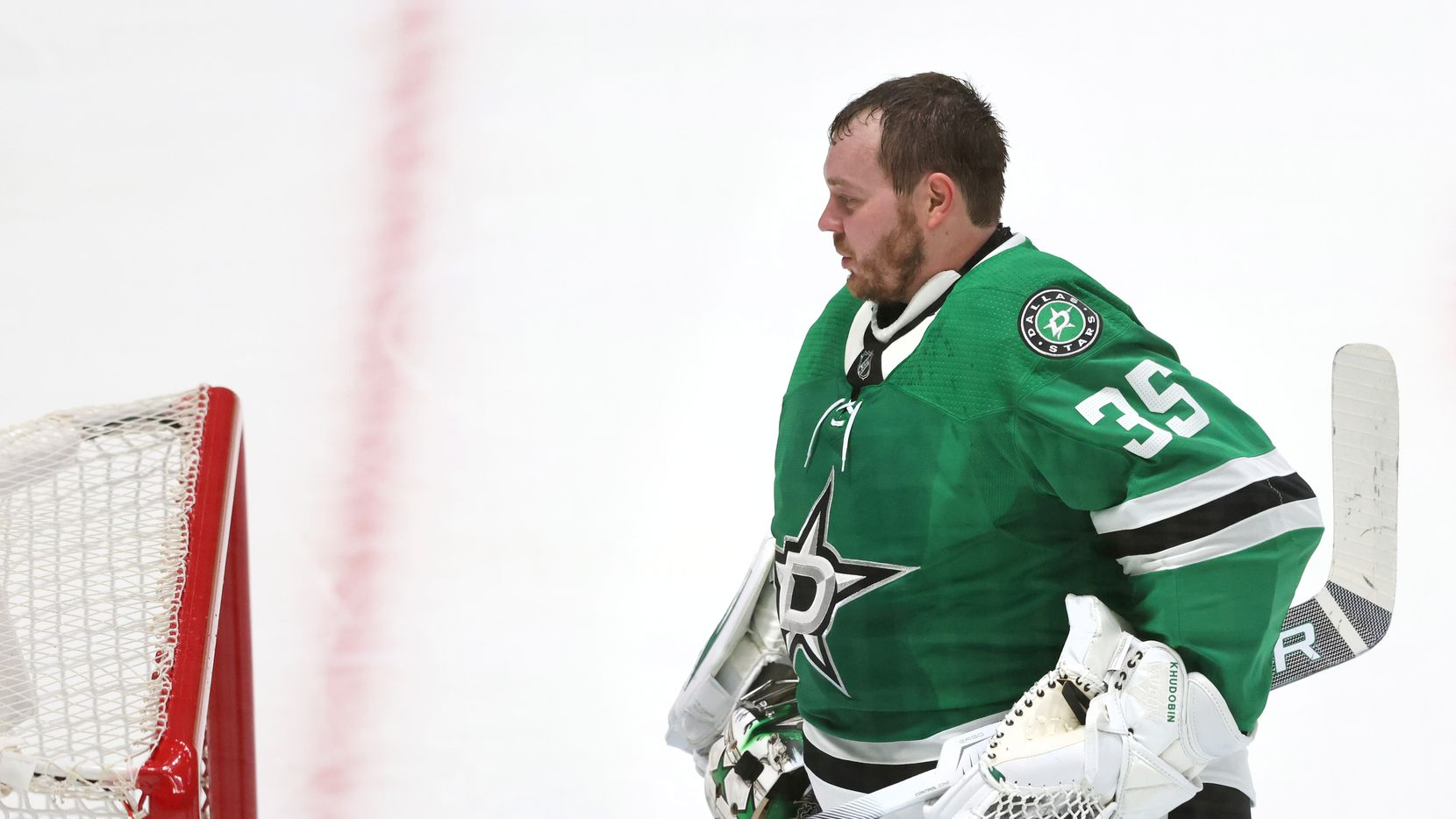 Dallas Stars goaltender Anton Khudobin (35) during a break in play in a game against the Nashville Predators in the first period of play in the Stars home opener at American Airlines Center on Friday, January 22, 2021in Dallas.
