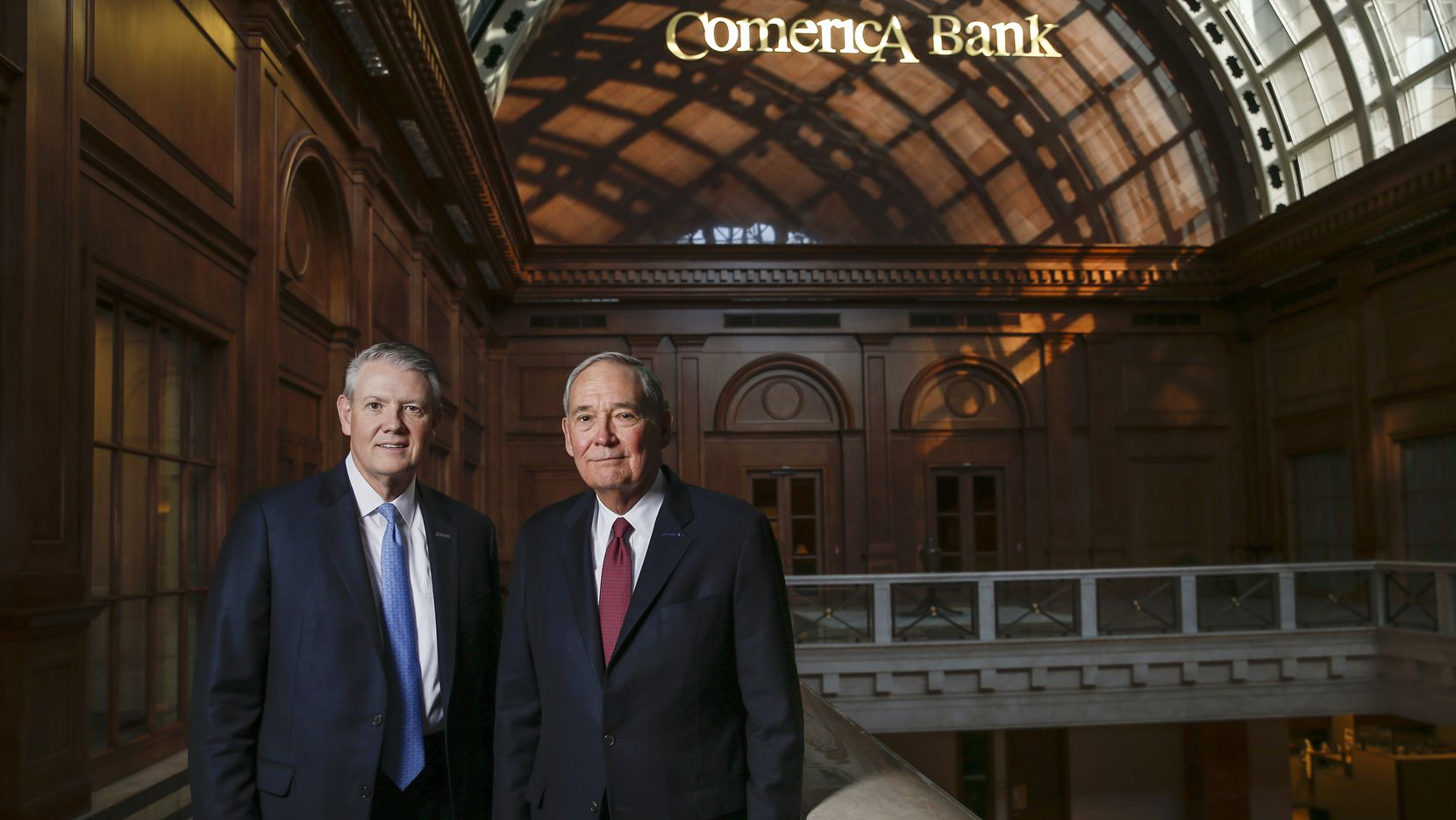 Curtis Farmer, left, was named Comerica CEO in April and will add the chairman's title on Jan. 1. His mentor, Ralph Babb, right, is retiring after 41 years in banking.