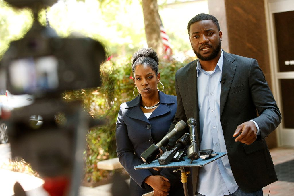 """""""My problem is this: The city of McKinney can quickly censure a sitting City Council member but cannot stand up or have a factual conversation about racism in the city of McKinney,"""" activist Dominique Alexander (right, with attorney Kim Cole), said Tuesday at City Hall."""