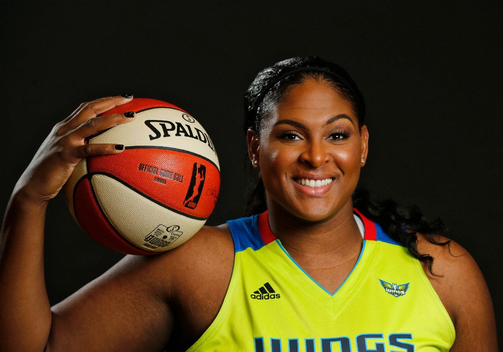 Courtney Paris poses for a portrait during Dallas Wings media day College Park Center in Arlington, Texas on May 2, 2017. (Nathan Hunsinger/The Dallas Morning News)