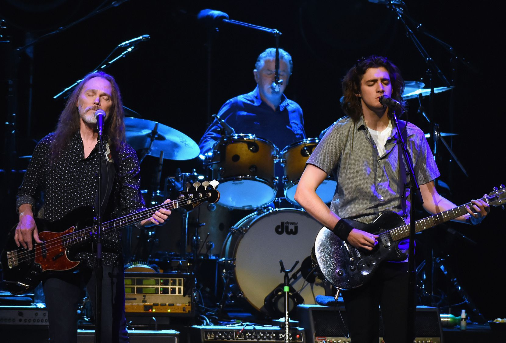 Timothy B. Schmit, Don Henley, Deacon Frey and Joe Walsh perform during the Eagles in Concert at The Grand Ole Opry on Oct. 29, 2017 in Nashville, Tennessee.  NASHVILLE, TN - OCTOBER 29:  Eagles, Timothy B. Schmit, Don Henley and Deacon Frey and Joe Walsh perform during the Eagles in Concert at The Grand Ole Opry on October 29, 2017 in Nashville, Tennessee.  (Photo by Rick Diamond/Getty Images) ORG XMIT: 775066863