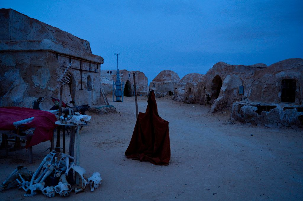 The inside of an abandoned Star Wars film location in the Sahara Desert near Tozeur in southern Tunisia at dusk. Southern Tunisia is a remote and otherworldly region that extends into the dunes of the Sahara Desert.