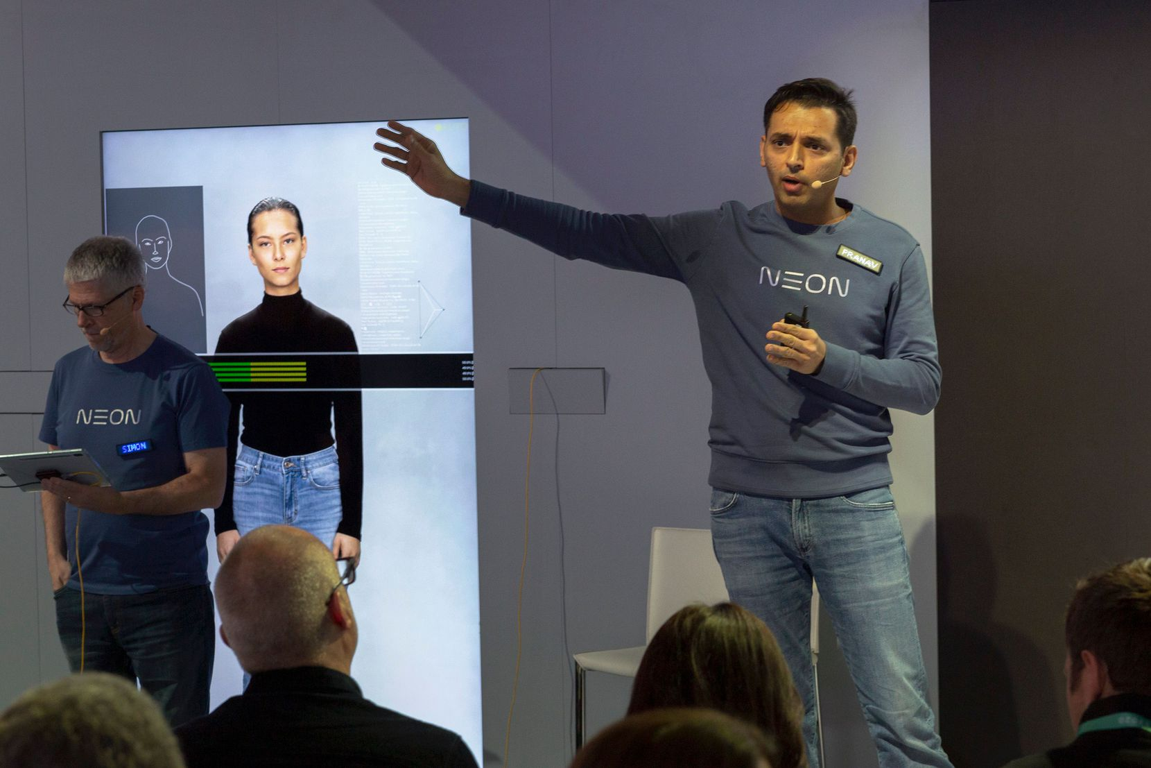 Neon CEO Pranav Mistry talks about the company's companion robot. (Photo by DAVID MCNEW/AFP via Getty Images)