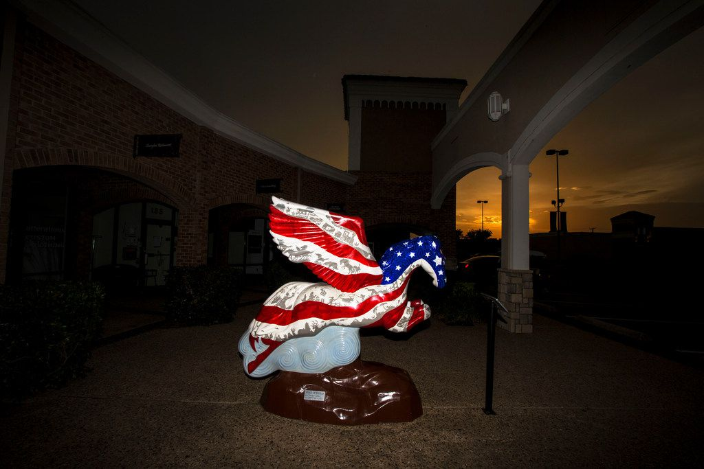 """The """"Spirit of Dallas"""" pegasus statue at Preston Valley Shopping Center in Dallas, shown on July 11, 2018. Artist Catharina Martinez painted 24 popular Dallas images into the statue."""