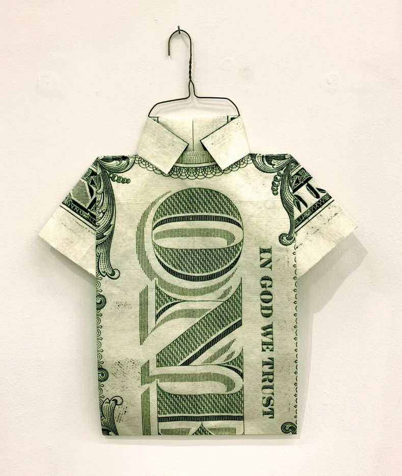 Lauren Grand Lubell, Dollar Shirt, 2019, UV-printed Tyvek. Photographed at The Big Summer T-Shirt Show at Ex Ovo gallery in Dallas on July 14, 2019.