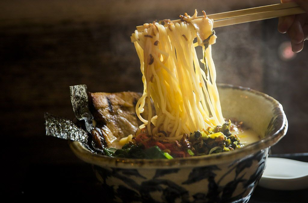 Tonkotsu ramen, with an onsen egg and spinach, at Ten