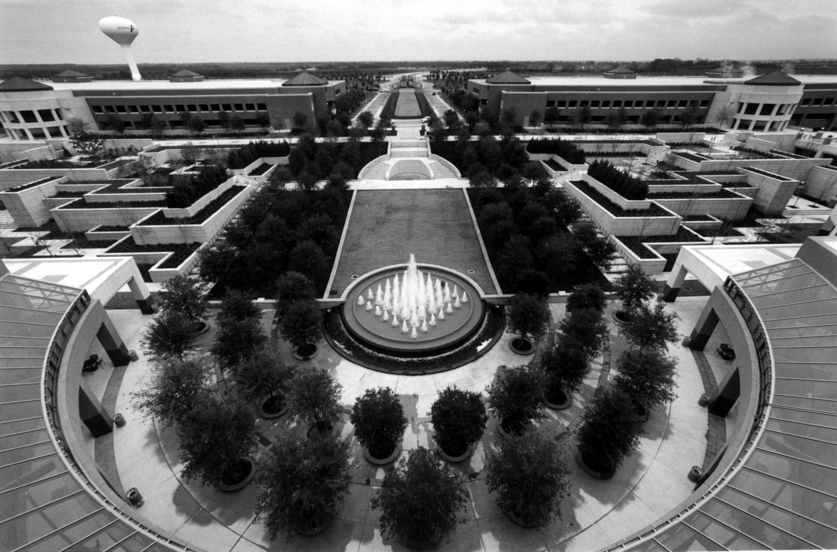 Jan. 7, 1993: A large garden is located at the rear entrance of the new J.C. Penney headquarters. The area, which is adjacent to the company dining area, has a fountain and will give employees and visitors a place to relax.