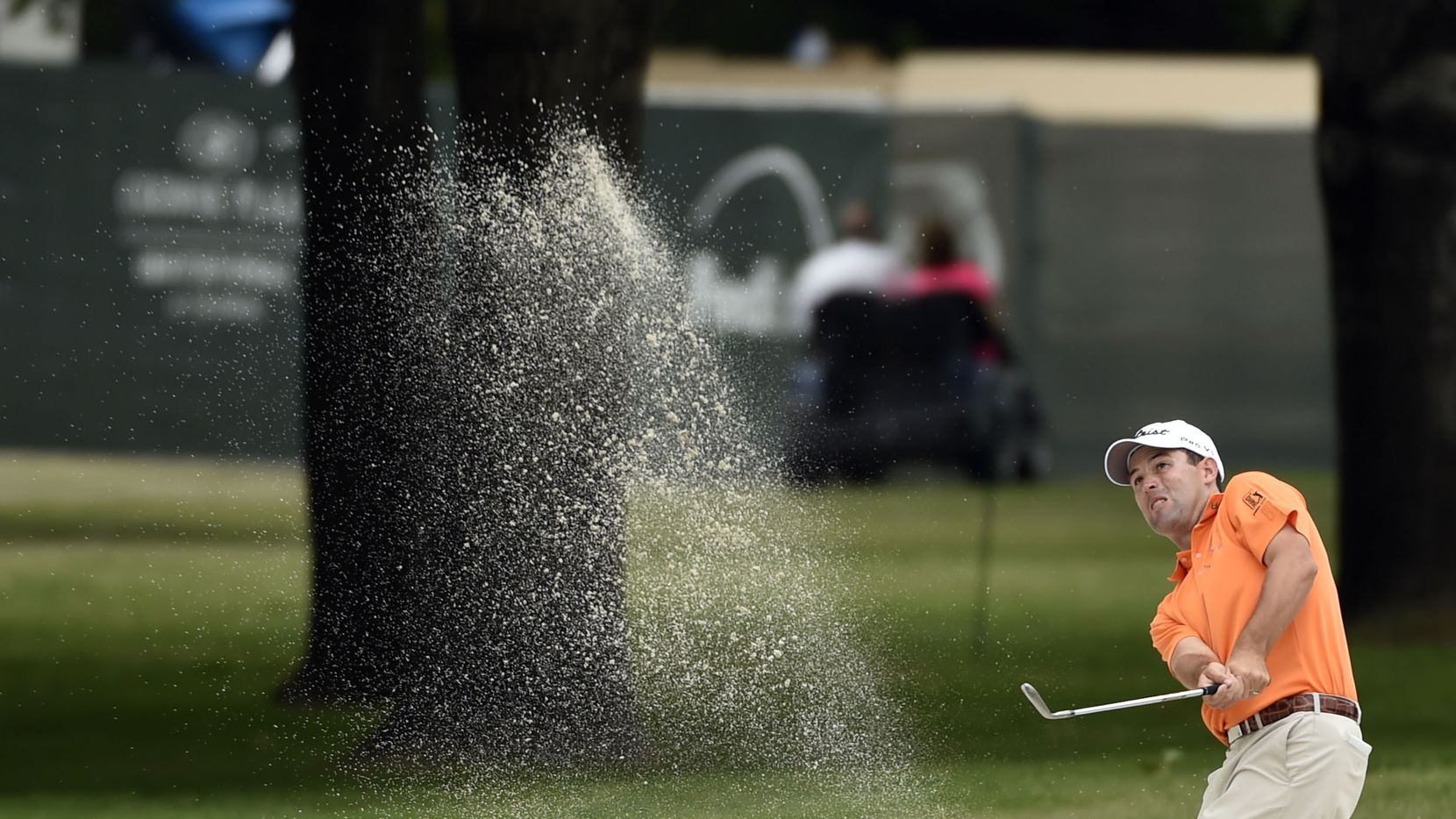 Robert Streb hits from the 9th fairway trap, during the second round of the Crowne Plaza Invitational at Colonial, in Fort Worth, Texas. on May 23, 2014.