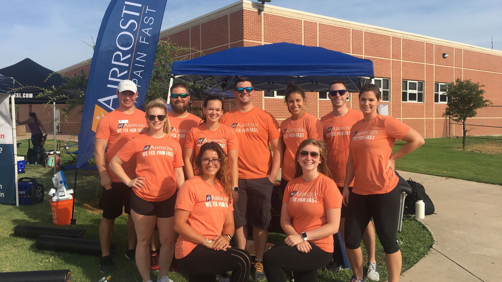 Airrosti Rehab Centers treatment teams helped with athlete services at a Camp Gladiator event.