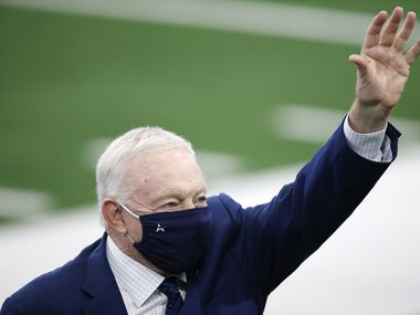 Cowboys owner and GM Jerry Jones waves to the crowd during warmups before a game against the Browns at AT&T Stadium in Arlington on Sunday, Oct. 4, 2020.