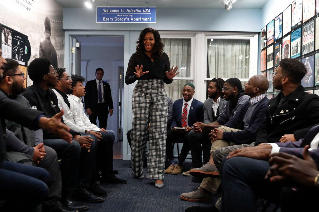 Former First Lady Michelle Obama surprise Wayne State University students during a discussion at the Motown Museum in Detroit.