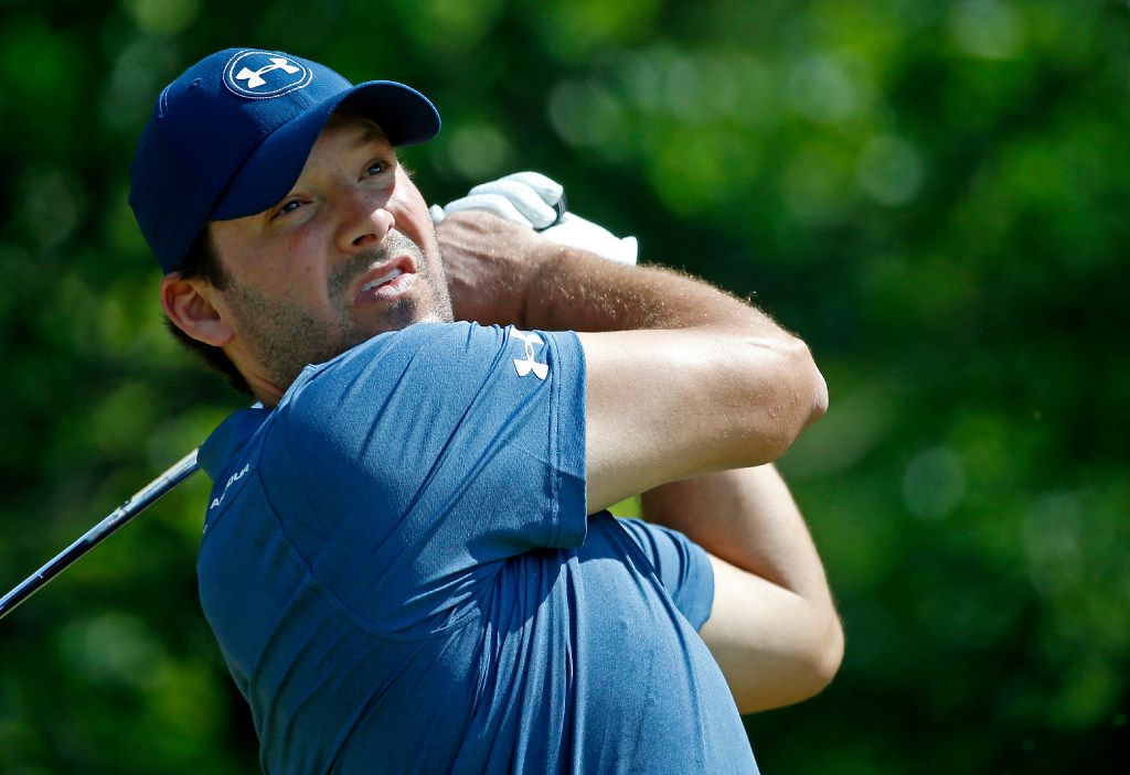 Former Dallas Cowboys quarterback Tony Romo watches his tee shot on the 8th tee box during U.S. Open Local Qualifying at Split Rail Links & Golf Club in Aledo, Texas, Monday, May 8, 2017. (Jae S. Lee/The Dallas Morning News)