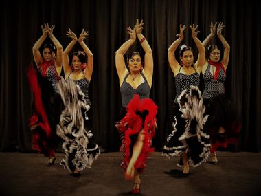 "Flamenco Fever founder Julia Alcántara (center) and other company dancers will appear in ""Memorias Flamencas"" at Annette Strauss Square on Sept. 11."