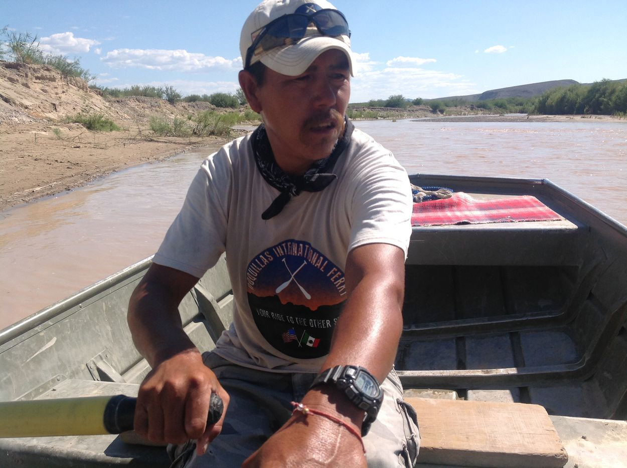 Carmelo Sandoval rows the boat that ferries tourists back and forth across the Rio Grande from Big Bend National Park on the Texas side to the village of Boquillas in Coahuila, Mexico.