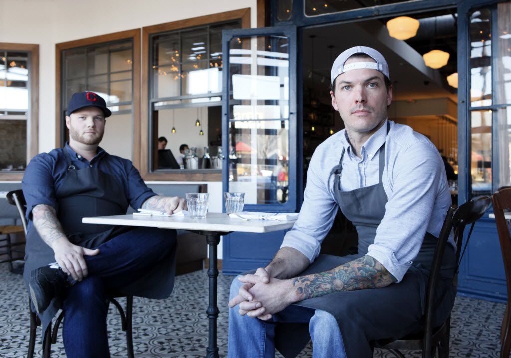 Executive chef Cody Sharp (left), departed Filament shortly after helping the Deep Ellum restaurant earn four stars in a review.  Chef-owner Matt McCallister (right) is also chef-owner of FT33, one of only two 5-star restaurants in Dallas.