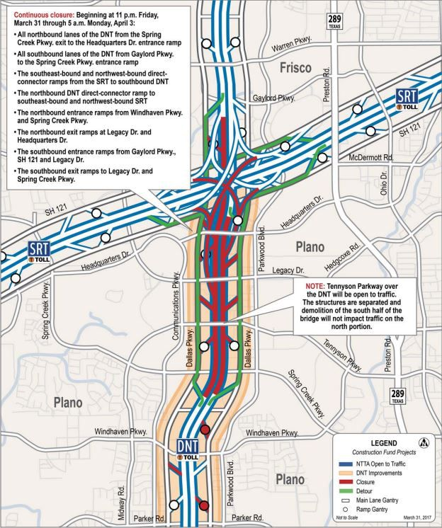 Lane closures this weekend on the Dallas North Tollway will begin at 11 p.m. Friday. (North Texas Tollway Authority)