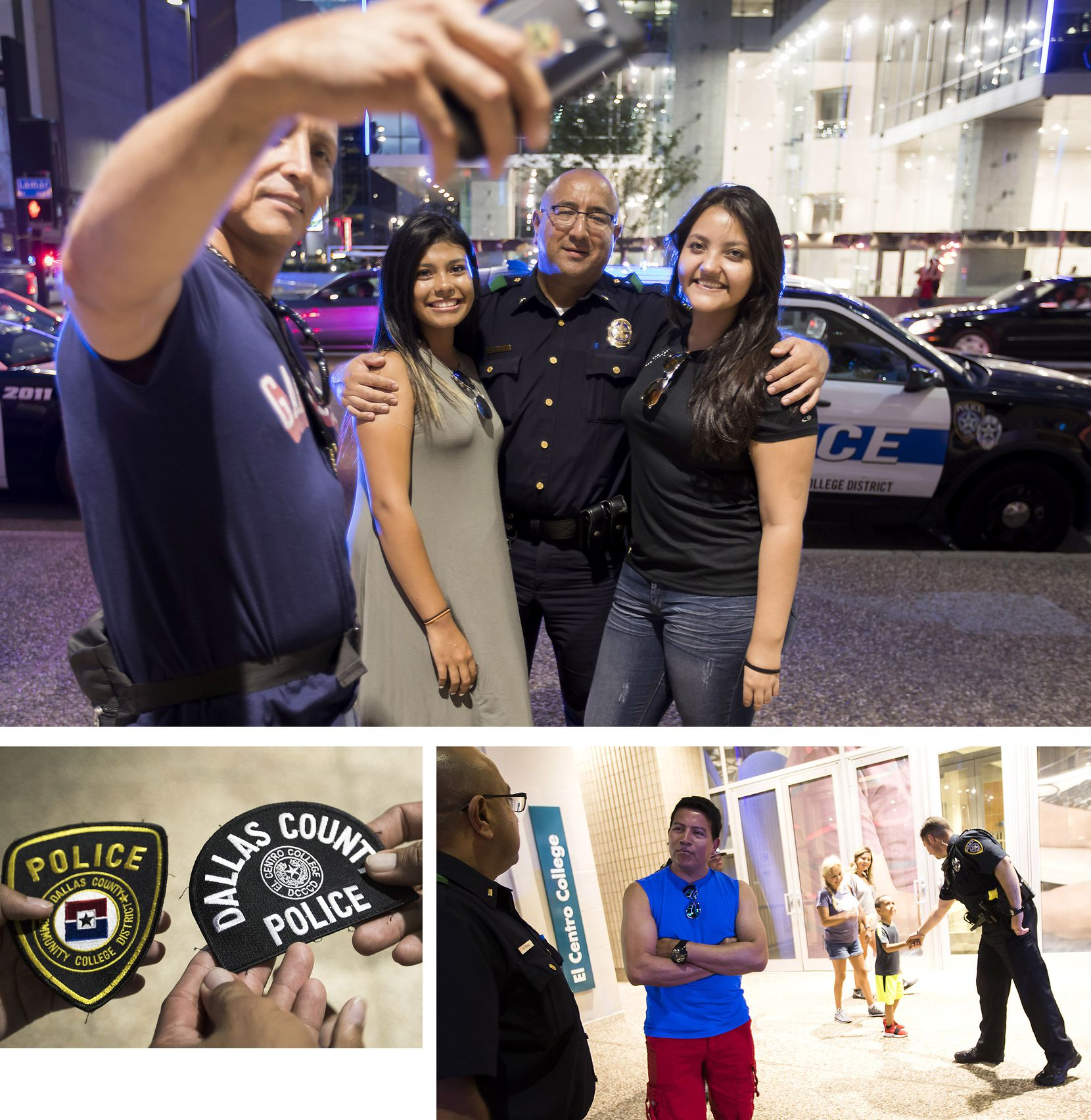 (Clockwise from top) Dallas Police Lt. Rick Rivas poses for photos with Elmer, Cesia and Brenda Contreras on the first anniversary of the attack. DCCCD Officer John Abbott shakes hands with a youngster on the sidewalk as Rivas and Elmer Contreras talk. Josh and Elmer Contreras hold police patches given to them by DCCCD Sgt. Lauri Boudreau.