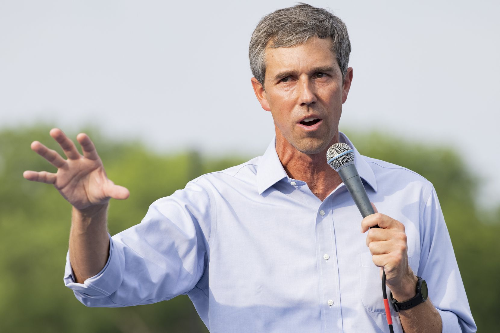 Former congressman Beto O'Rourke speaks during his For the People, The Texas Drive for Democracy event on Tuesday, June 8, 2021, at Paul Quinn College in Dallas. (Juan Figueroa/The Dallas Morning News)
