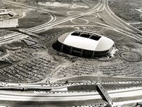 Texas Stadium and its adjacent parking lots are seen in this 1971 aerial photo.