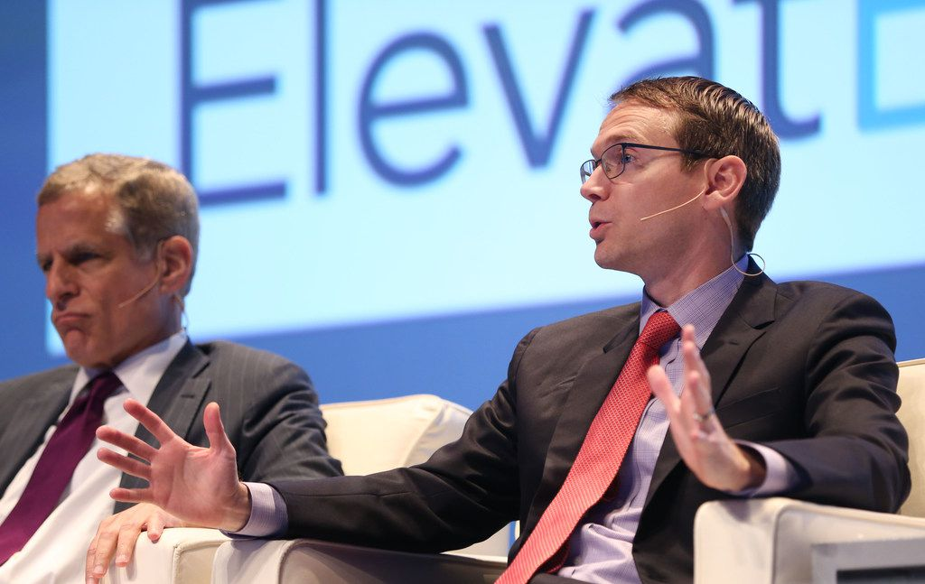 Mike Morath (right), Texas Commissioner of Education, speaks alongside Robert Kaplan, president and CEO of the Federal Reserve Bank of Dallas, during a panel discussion on Education and the Economy at ElevatEd: Education & the Economy conference at Southern Methodist University in Dallas on Monday, June 4, 2018. (Rose Baca/The Dallas Morning News)