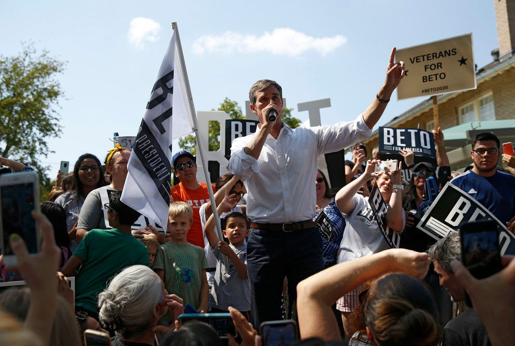 Democratic Presidential candidate Beto O'Rourke speaks at a campaign event at Haggard Park in Plano on Sept. 15, 2019.